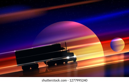 Truck rides on the highway in space. Classic big rig semi truck on the night road on a colorful cosmic background of the starry sky. Interplanetary interstellar space transportation, vector
