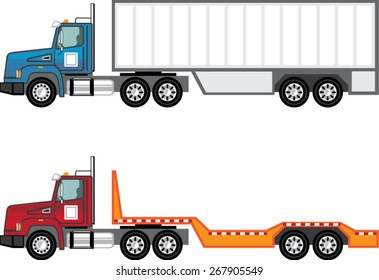 Truck semi and flatbed