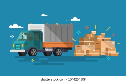 Truck. Shipping cargo delivery.  Transportation and logistic. Flat style.