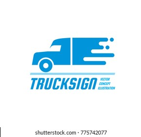 Truck sign - vector business logo template. Abstract car silhouette concept illustration. Delivery service creative symbol. Transport icon. Design element.