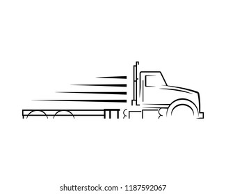 Truck silhouette abstract logo template vector