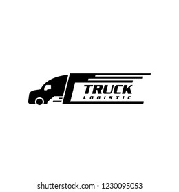 Truck silhouette logo template, logistics or delivery service label vector logo design