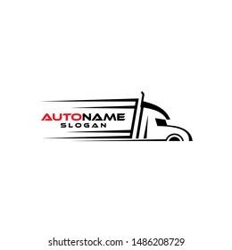Truck silhouette logo template vector