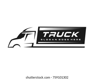 Truck silhouette logo template vector