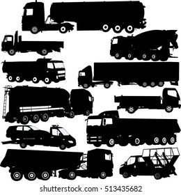truck silhouettes collection - vector