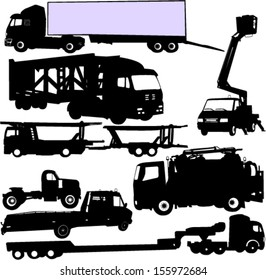 truck silhouettes set - vector