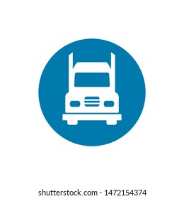 Truck simple icon silhouette on white background. Ground transport. Vector illustration.