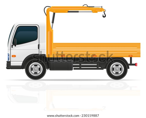 truck with a small crane for construction vector illustration isolated on white background