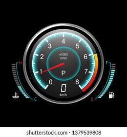 Truck speedometer or car odograph with fuel level and temperature control. Motorcycle tachometer or analog auto equipment for speed measure. Gauge for internet connection or progress. Motorbike theme