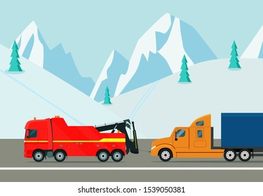 Truck tow truck evacuates a truck on a winter road. Vector flat style illustration.