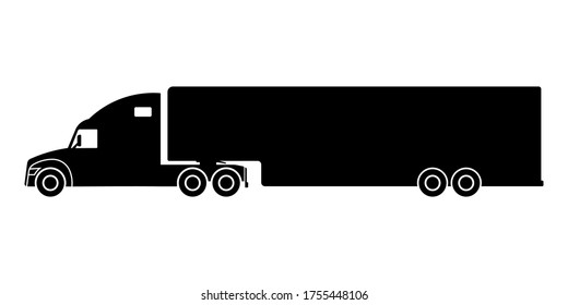 Truck tractor with semitrailer icon. Black silhouette. Side view. Vector flat graphic illustration. Isolated object on a white background. Isolate.