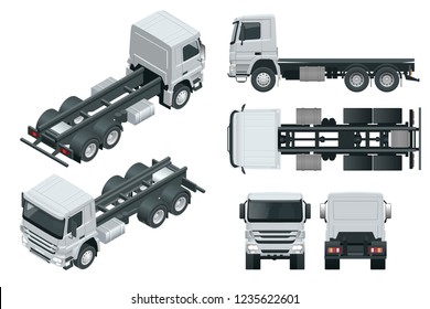 Truck tractor or semi-trailer truck. View front, rear, side, top and isometric front, back. Cargo delivering vehicle template vector isolated on white