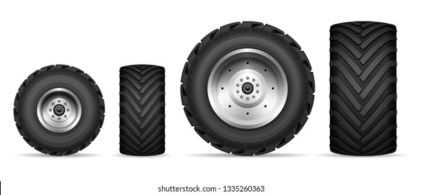 Truck and tractor wheels isolated on white background