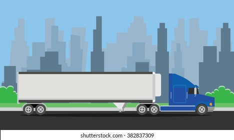 truck trailer blue transportation on the highway with city background
