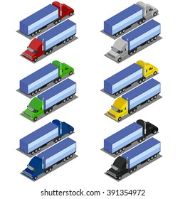 Truck Trailer illustration. vector illustration isometric lorry. Set trucks in various colors. Truck on both sides.