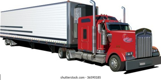 truck trailer isolated on white background vector illustration