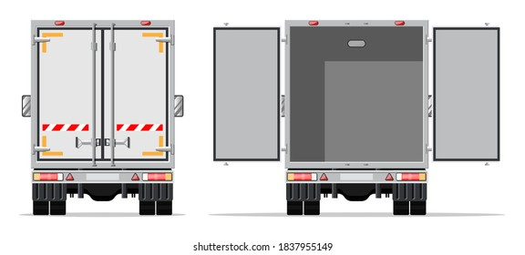 Truck trailer rear view side with closed and open doors. Delivery van isolated. Express delivering services commercial truck. Fast and free delivery by car. Cargo logistic. Flat vector illustration