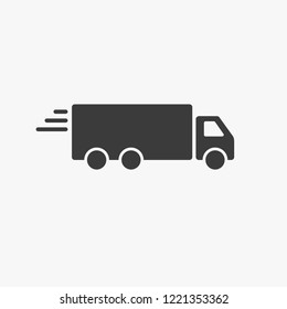 Truck trailer vector icon. Semi lorry wagon commercial transport logistic concept. Van delivery shape sign isolated on white.