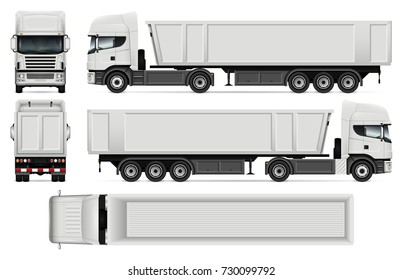 Truck with trailer vector mock-up for advertising, corporate identity. Isolated template of dump truck on white. Vehicle branding mockup. Easy to edit and recolor. View from side, front, back, top.