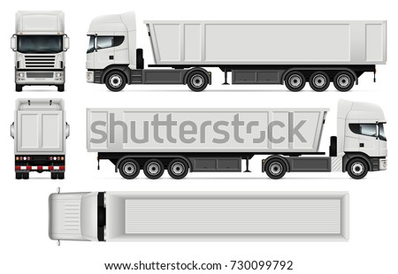 truck trailer vector mockup advertising corporate stock vector
