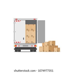 Truck for transportation of goods loaded with cardboard boxes. Delivery truck with a bunch of boxes. Concept of moving to a new house. Vector stock illustration in flat style isolated on white