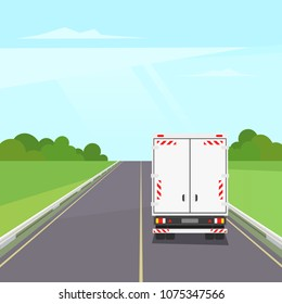 Truck transportation on the road. Landscape with highway traffic under blue sky with clouds. Back view of cargo trailer.  Moving and delivery concept. Vector stock illustration