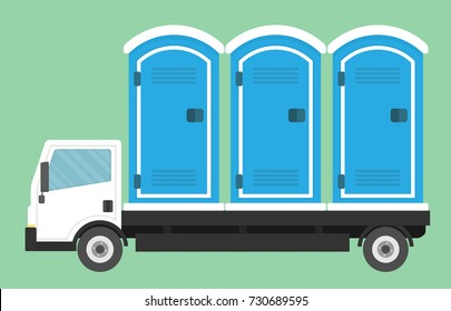 Truck transporting mobile or portable toilets