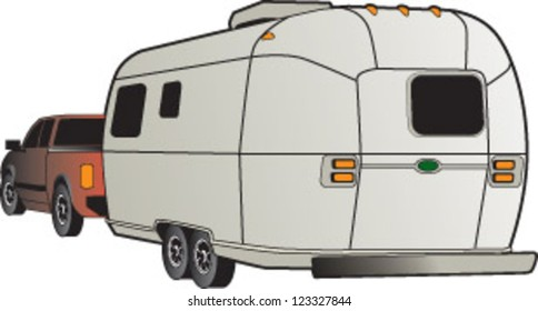 truck with travel trailer illustration