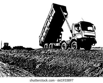 Truck unloading vector illustration