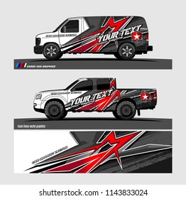 truck, van, and other vehicle Graphic vector. Racing background for vinyl wrap and decal