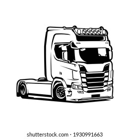 Truck Vector Isolated. Black and White Silhouette