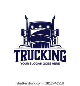 truck vector logo illustration,good for mascot,delivery,or logistic,logo industry,flat color,style with blue.