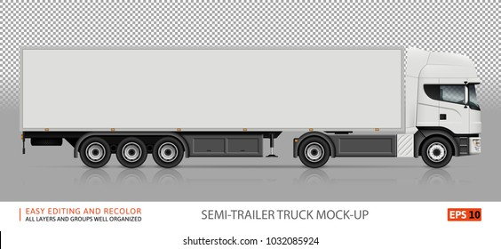 Truck vector mock-up. Isolated template of semi-trailer truck on transparent background. White delivery lorry from side view. Vehicle branding mockup. All elements in the groups on separate layers.