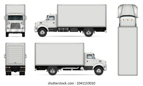 Truck vector mock-up. Isolated template of lorry on white background. Vehicle branding mockup. Side, front, back, top view. All elements in the groups on separate layers. Easy to edit and recolor.