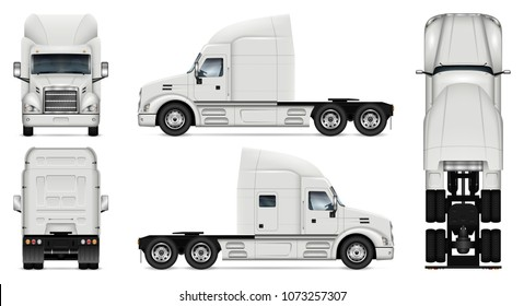 Truck vector mock-up. Isolated template of lorry on white background. Vehicle branding mockup. Side, front, back, top view. All elements in the groups on separate layers, easy to edit and recolor