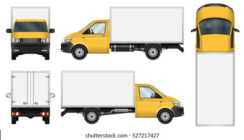 Truck vector mock-up. Isolated template of box van on white background. Vehicle branding mockup. Side, front, back, top view. All elements in the groups on separate layers. Easy to edit and recolor.