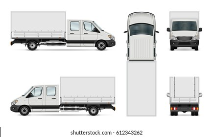 Truck vector template. Cargo van isolated on white. All layers and groups well organized for easy editing and recolor. View from side, back, front and top.