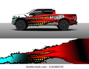 Truck and vehicle graphic decal designs, car wrap vector. Graphic abstract stripe designs for advertisement, race, adventure and livery car