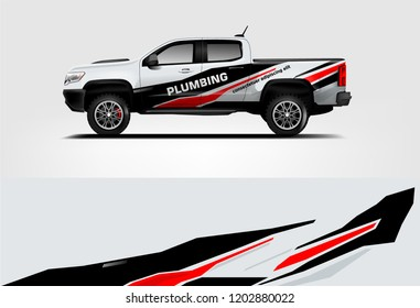 Truck wrap design. Wrap, sticker and decal design for company. Vector format