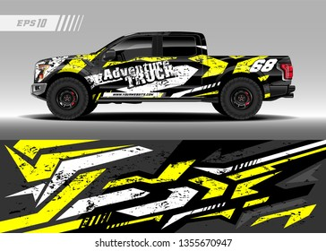 Truck wrap design vector. Graphic abstract stripe racing background kit designs for wrap vehicle, race car, rally, adventure and livery