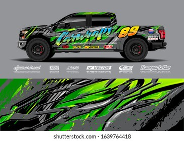 Truck wrap design vector. Graphic modern abstract stripe racing background kit for wrap vehicle, race car, rally, adventure and livery