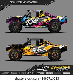 Truck wrap graphic design vector. Abstract sporty and adventure racing background. Full vector eps 10