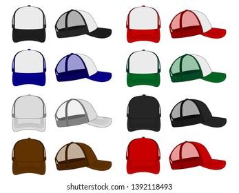 trucker cap / mesh cap template illustration set