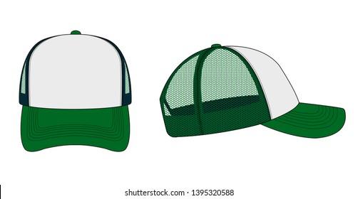 trucker cap / mesh cap template illustration (white & green)