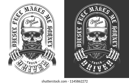 Trucker emblem with skull in monochrome. Vector illustration