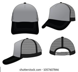 Trucker grey net cap for template (Grey/Black)