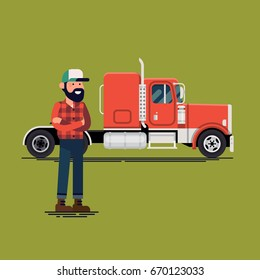 Trucker with his semi truck. Cool vector flat design illustration on truck driver standing in front of american semi-trailer truck