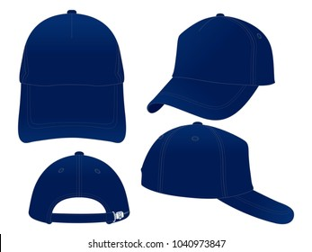 Trucker Navy Blue Baseball Cap Vector