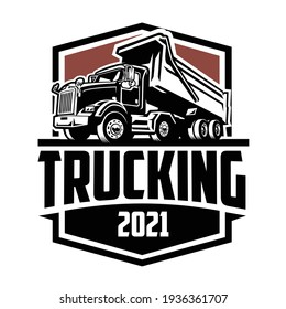 Trucking Company 2021 Logo Badge Emblem Vector Isolated. Ready made logo template set vector isolated