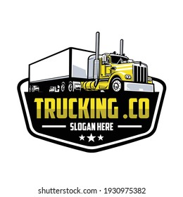 Trucking company logo. Bold badge emblem logo concept. Ready made logo template set vector isolated